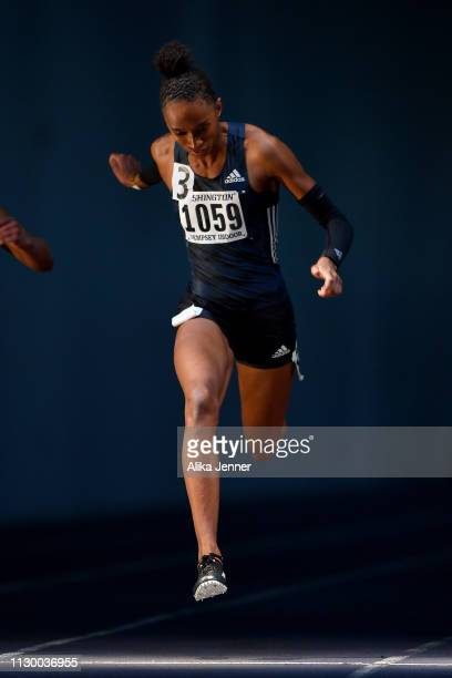 Kendall Baisden unattached wins the women's 60 meter dash at Dempsey Indoor Center on February 15 2019 in Seattle Washington