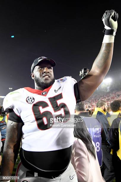 Kendall Baker of the Georgia Bulldogs reacts after the Bulldogs beat the Oklahoma Sooners in the 2018 College Football Playoff Semifinal at the Rose...