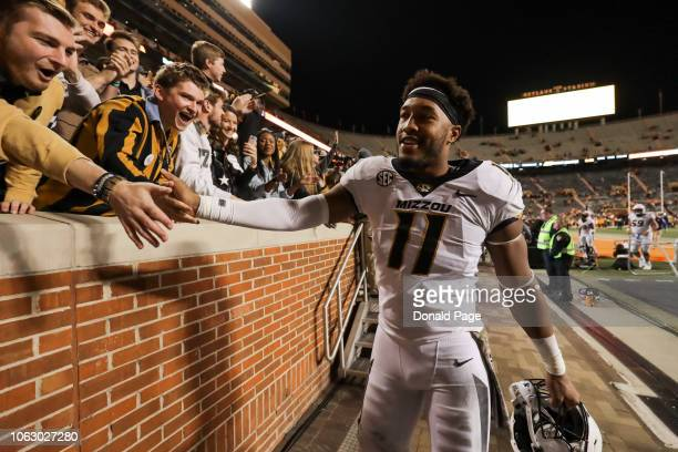Kendall Blanton of the Missouri Tigers celebrates with fans after the game between the Missouri Tigers and the Tennessee Volunteers at Neyland...