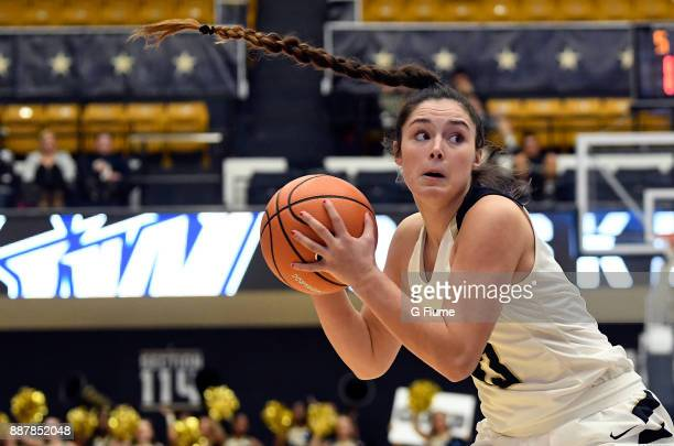 Kendall Bresee of the George Washington Colonials handles the ball against the South Dakota State Jackrabbits at Charles E Smith Athletic Center on...