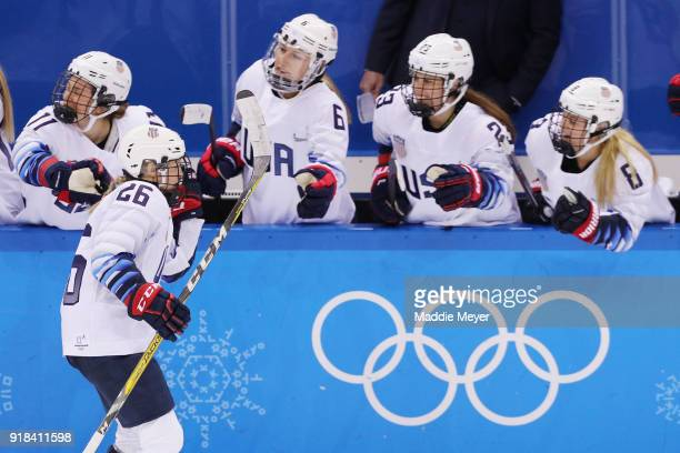 Kendall Coyne of the United States celebrates scoring a goal in the third period against Canada during the Women's Ice Hockey Preliminary Round Group...