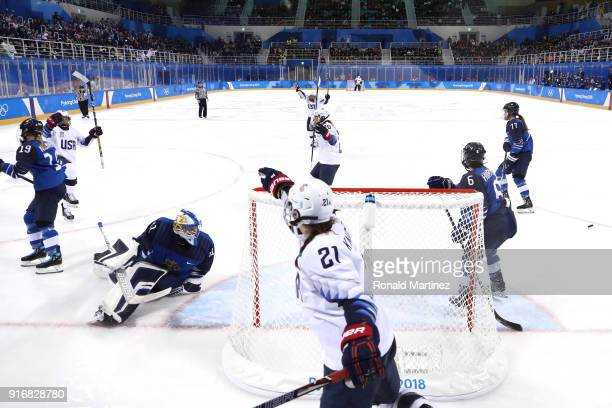 Kendall Coyne of the United States celebrates with teammate Hilary Knight after scoring a goal in the second period against Finland during the...