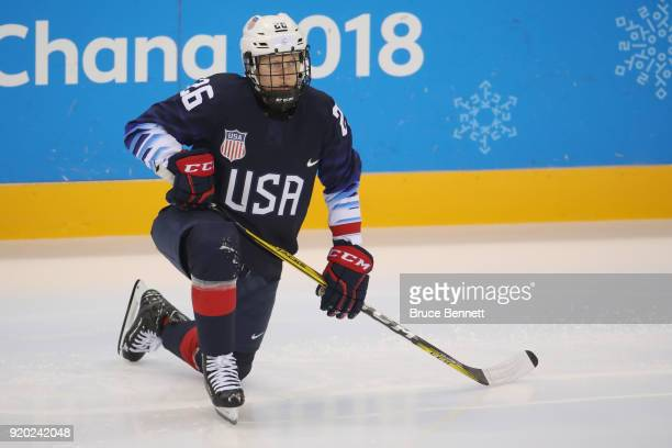 Kendall Coyne of the United States looks on during warmups prior to the game against Canada during the Ice Hockey Women Playoffs Semifinals on day 10...