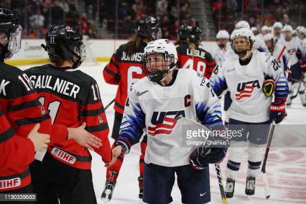 Kendall Coyne Schofield of the United States shakes hands after a 02 loss over of Canada at Little Caesars Arena on February 17 2019 in Detroit...