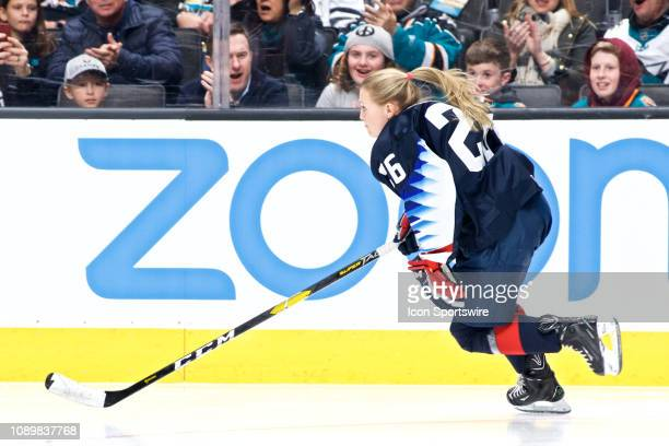 Kendall Coyne Schofield of the United States Women's National Team in the NHL Fastest Skater at the NHL AllStar Skills Competition on January 25 at...