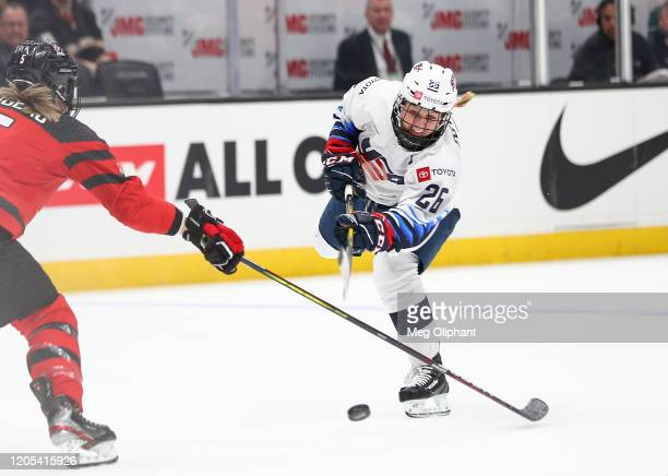 Kendall Coyne Schofield of the U.S. Women's Hockey Team handles the puck in the game against the Canadian Women's National Team at Honda Center on...