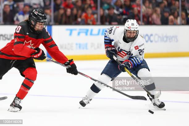 Kendall Coyne Schofield of the U.S. Women's Hockey Team handles the puck in the third period against the Canadian Women's National Team at Honda...
