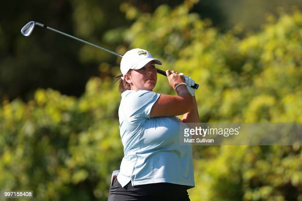 Kendall Dye of Italy watches her tee shot on the second hole during the first round of the Marathon Classic Presented By Owens Corning And OI on July...