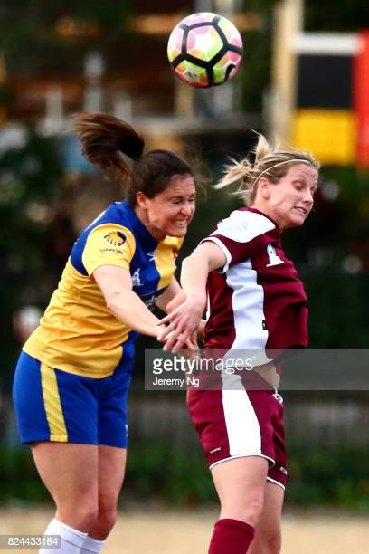 Kendall Fletcher of Sydney Uni and Kylie Ledbrook of the Rams head the ball during the NPL NSW Women's round 17 match between Sydney University...