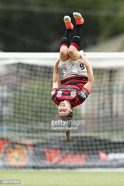 Kendall Fletcher of the Wanderers celebrates scoring a penalty goal during the round seven WLeague match between the Western Sydney Wanderers and...