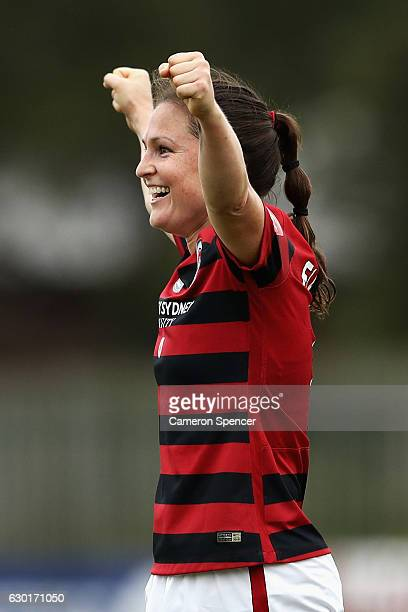 Kendall Fletcher of the Wanderers celebrates winning the round seven WLeague match between the Western Sydney Wanderers and Melbourne City FC at...
