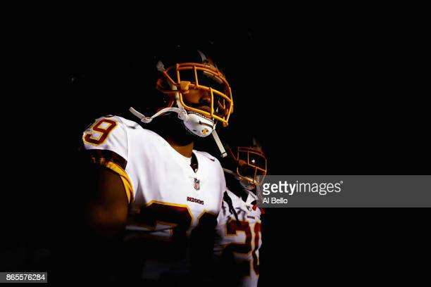 Kendall Fuller and Rob Kelley of the Washington Redskins wait in the tunnel before taking the field to play against the Philadelphia Eagles at...