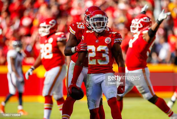 Kendall Fuller cornerback with the Kansas City Chiefs celebrated his fourth quarter interception against the Denver Broncos at Arrowhead Stadium on...