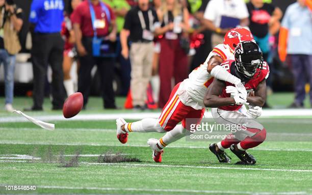 Kendall Fuller of the Kansas City Chiefs breaks up a pass intended for Calvin Ridley of the Atlanta Falcons at MercedesBenz Stadium on August 17 2018...