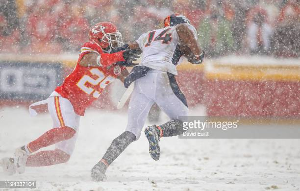 Kendall Fuller of the Kansas City Chiefs reaches for a tackle attempt on Courtland Sutton of the Denver Broncos at Arrowhead Stadium on December 15,...
