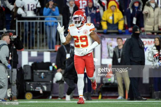 Kendall Fuller of the Kansas City Chiefs reacts after breaking up a pass during the second half against the New England Patriots in the game at...