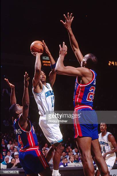 Kendall Gill of the Charlotte Hornets shoots the ball against the Detroit Pistons during a game played on March 22 1992 at the Charlotte Coliseum in...