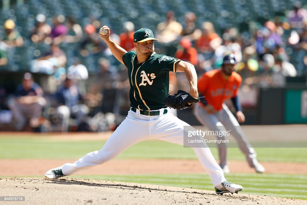 Kendall Graveman #49 of the Oakland Athletics pitches in the second inning against the Houston Astros at Oakland Alameda Coliseum on September 10, 2017 in Oakland, California.