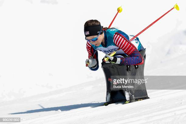 Kendall Gretsch of the United States competes in the Women's Cross Country 12km Sitting event at Alpensia Biathlon Centre during day two of the...