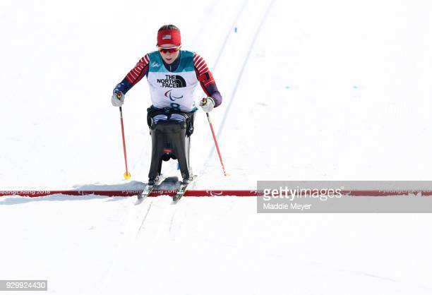 Kendall Gretsch of the United States crosses the finish line during the Women's 6 km Sitting Biathlon competition at Alpensia Biathlon Centre on Day...