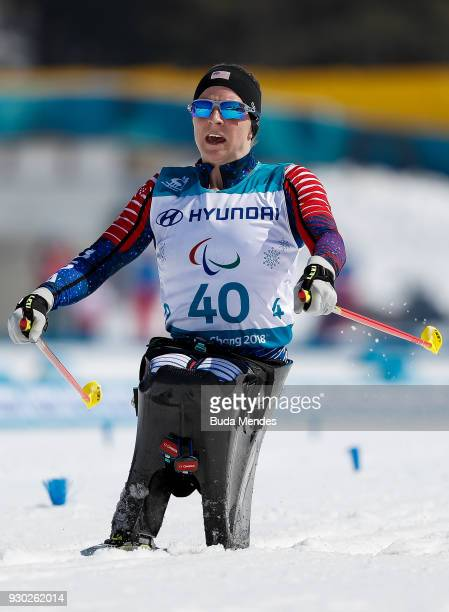 Kendall Gretsch of the United States crosses the finish line in first place in the Women's Cross Country 12km Sitting event at Alpensia Biathlon...