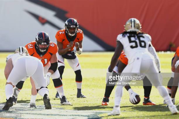Kendall Hinton of the Denver Broncos takes his first snap of the game during the first quarter against the New Orleans Saints at Empower Field At...