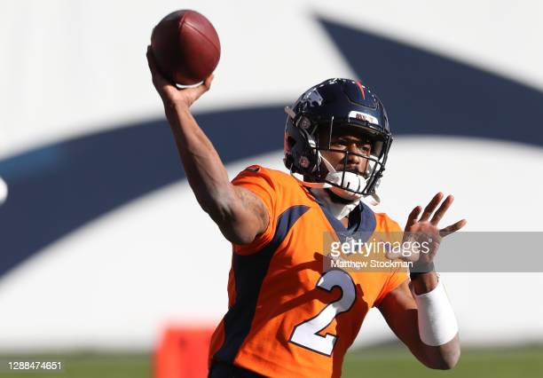 Kendall Hinton of the Denver Broncos warms up prior to facing the New Orleans Saints at Empower Field At Mile High on November 29, 2020 in Denver,...