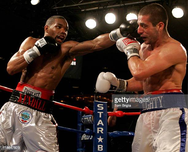 Kendall Holt lands a left jab on Mike Arnaoutis, April 20, 2007 during their WBO junior welterweight eliminator bout at Ballys in Atlantic City, New...