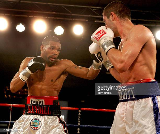 Kendall Holt lands a short left on Mike Arnaoutis, April 20, 2007 during their WBO junior welterweight eliminator bout at Ballys in Atlantic City,...
