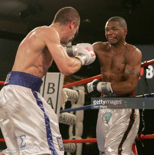 Kendall Holt lands a short right on Mike Arnaoutis, April 20, 2007 during their WBO junior welterweight eliminator bout at Ballys in Atlantic City,...