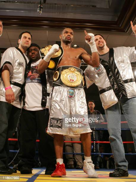 Kendall Holt poses with his championship belt after defeating Mike Arnaoutis, April 20, 2007 in their WBO junior welterweight eliminator bout at...