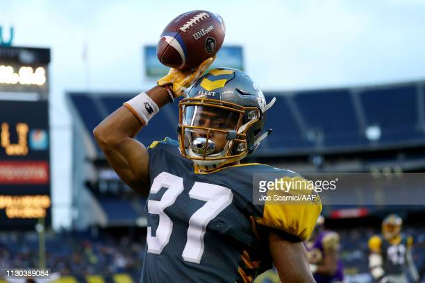Kendall James of the San Diego Fleet reacts in the first quarter against the Atlanta Legends during the Alliance of American Football game at SDCCU...