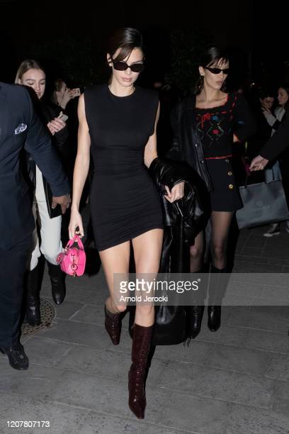 Kendall Jenner and Bella Hadid are seen during Milan Fashion Week Fall/Winter 2020-2021 on February 21, 2020 in Milan, Italy.