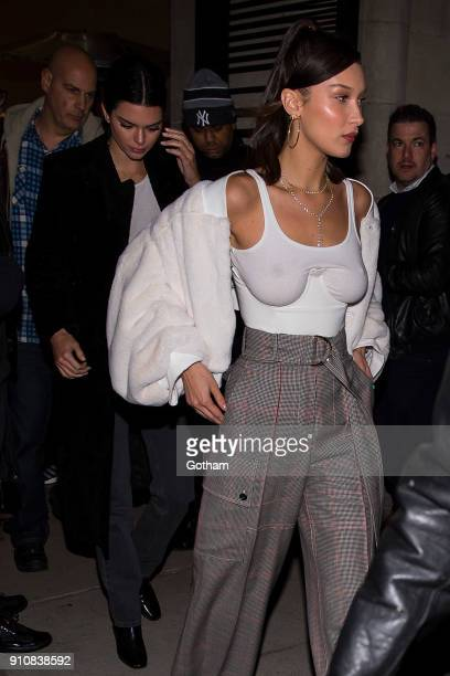 Kendall Jenner and Bella Hadid are seen in SoHo on January 26 2018 in New York City