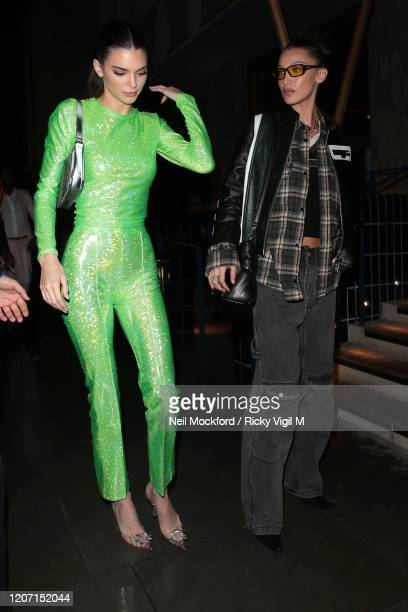 Kendall Jenner and Bella Hadid seen attending Sony Music BRIT Awards 2020 after party at The Standard on February 18 2020 in London England