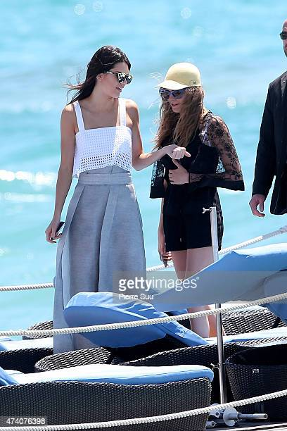 Kendall Jenner and Cara Delevingne at the Martinez Hotel Beach during the 68th annual Cannes Film Festival on May 20 2015 in Cannes France