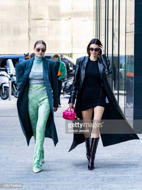 Kendall Jenner and Gigi Hadid are seen during Milan Fashion Week Fall/Winter 2020-2021 on February 21, 2020 in Milan, Italy.