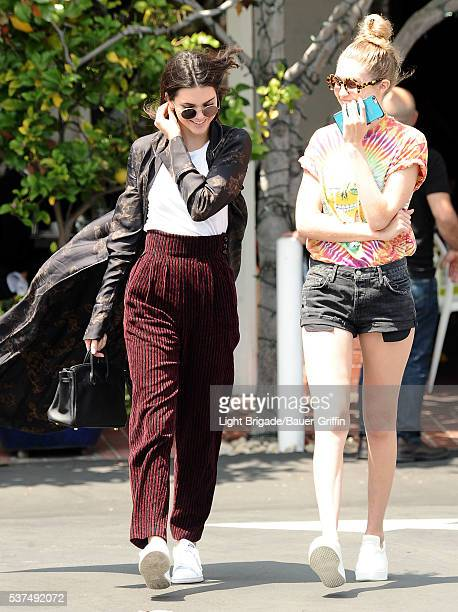 Kendall Jenner and Gigi Hadid are seen in West Hollywood Ca on June 01 2016 in Los Angeles California