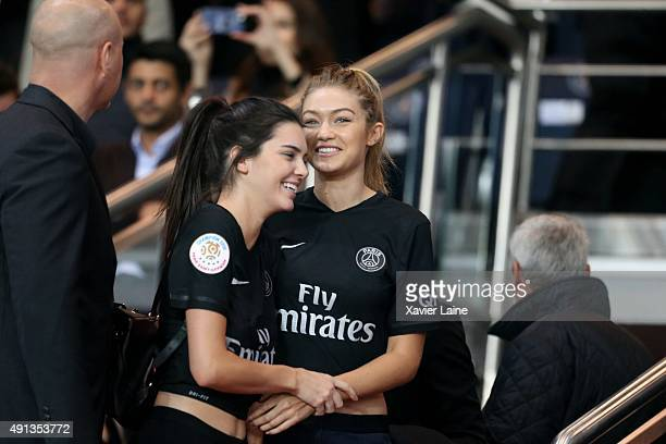 Kendall Jenner and Gigi Hadid attends the French Ligue 1 between Paris SaintGermain and Olympique de Marseille at Parc Des Princes on October 4 2015...