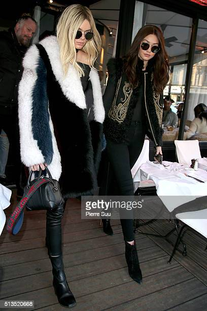 Kendall Jenner and Gigi Hadid leave L'avenue restaurant on March 3 2016 in Paris France