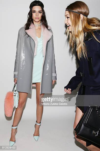 Kendall Jenner and Gigi Hadid pose backstage ahead of the Versace show during Milan Fashion Week Fall/Winter 2016/17 on February 26 2016 in Milan...