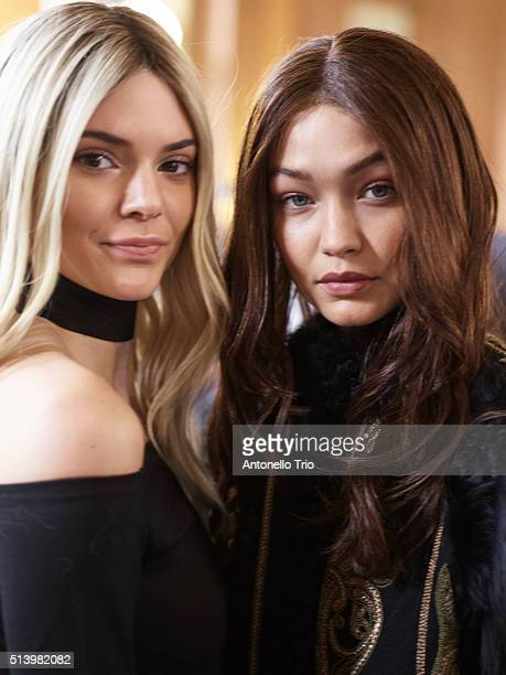 Kendall Jenner and Gigi Hadid prepares backstage before the Balmain show as part of the Paris Fashion Week Womenswear Fall/Winter 2016/2017 on March...