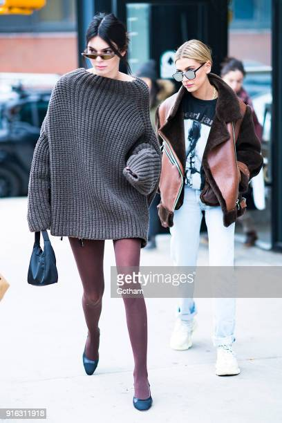 Kendall Jenner and Hailey Baldwin are seen in Brooklyn on February 9 2018 in New York City