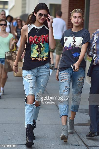 Kendall Jenner and Hailey Baldwin are seen in Soho on July 3 2014 in New York City