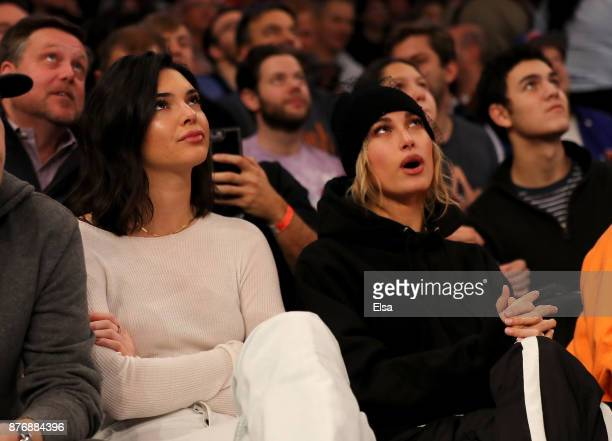 Kendall Jenner and Hailey Baldwin attend the game between the New York Knicks and the Los Angeles Clippers at Madison Square Garden on November 20...