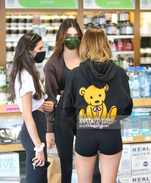 Kendall Jenner and Hailey Bieber are seen on November 06, 2020 in Los Angeles, California.