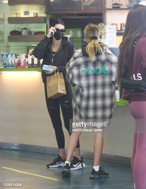 Kendall Jenner and Hailey Bieber are seen on October 27, 2020 in Los Angeles, California.