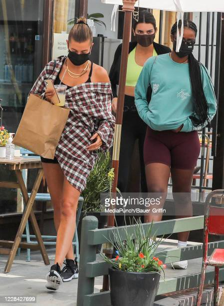 Kendall Jenner and Hailey Bieber are seen on September 09 2020 in Los Angeles California