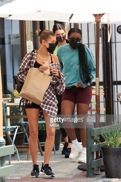 Kendall Jenner and Hailey Bieber seen after having lunch together on September 9 2020 in Los Angeles California