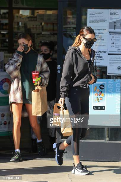 Kendall Jenner and Hailey Bieber seen picking up a juice on October 27, 2020 in Los Angeles, California. (Photo by Rachpoot/MEGA/GC Images